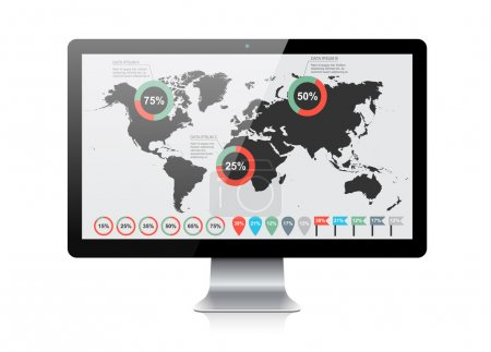 World map infographic on screen device