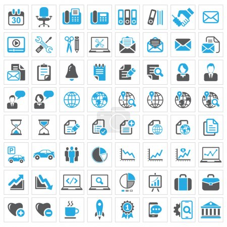 Illustration for Business icon set, dark grey and blue series with outlines grey on white background . Vector illustration - Royalty Free Image