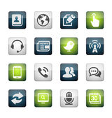 Media and Communication icons set mate colored series