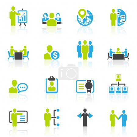 Illustration for Business management and human resource icons dark gray, green, blue series, in illustration vector - Royalty Free Image