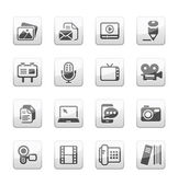 Multimedia Icons silver - gray cube mate series in illustration vector