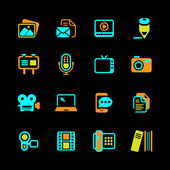 Multimedia Icons colored on black series orange - green - blue in illustration vector