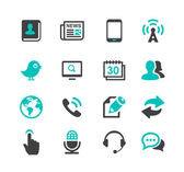 Media and Communication icons set dark gray and blue series