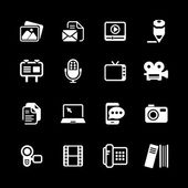 Multimedia Icons basic white series in illustration vector