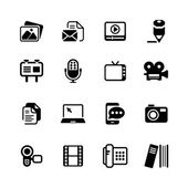 Multimedia Icons basic black series in illustration vector