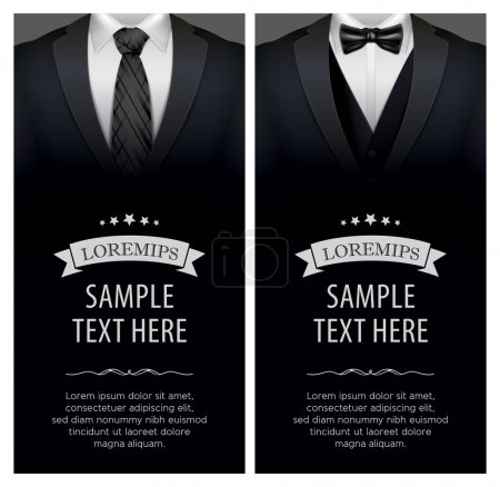 Illustration for Suit and tuxedo business card, vector illustration - Royalty Free Image