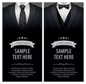 Suit and tuxedo business card vector illustration