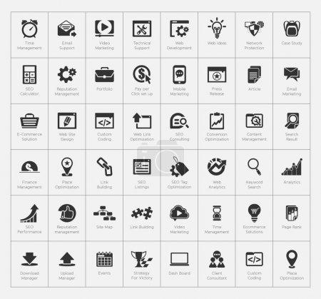 Illustration pour Ensemble d'icônes seo et développement - image libre de droit