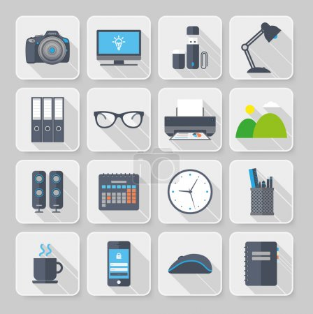 OfficeFlat icons with long shadow
