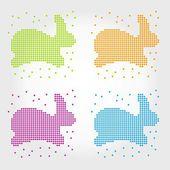 Sada králíků z kruhů. popisek. vektor