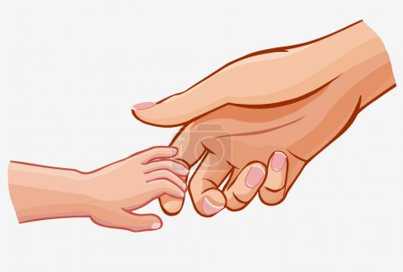 child holding woman's hand,vector illustration isolated on white