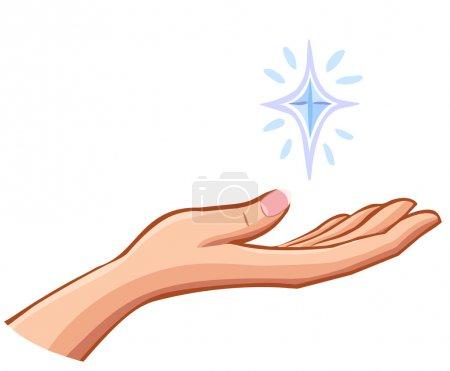 Illustration pour Vecteur Femme main droite tenant quelque chose de précieux isolé sur blanc - image libre de droit