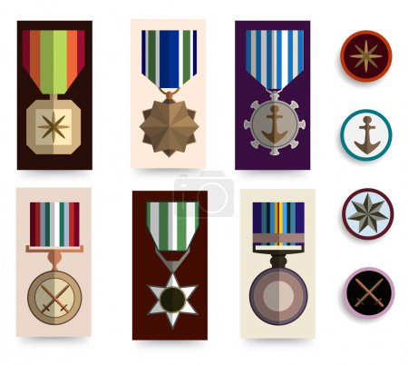 Flat medals icons