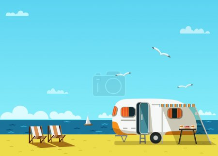 Retro caravan on  beach
