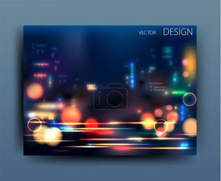 Illustration for Vector business flyer template or corporate banner design with city lights - Royalty Free Image