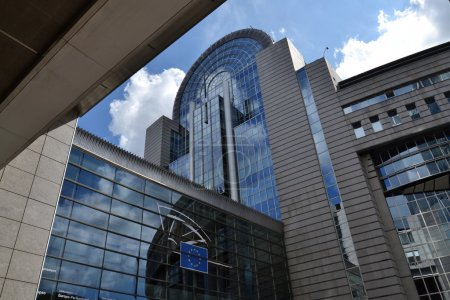 Photo for European Parliament building in Brussels, Belgium against a blue sky - Royalty Free Image