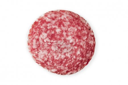 Photo for Slice of salami sausage, a piece of sausage - Royalty Free Image