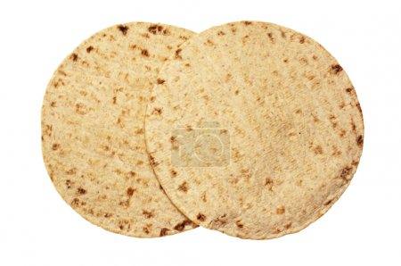 Photo for Wheat round cakes on a white background, isolated two pita - Royalty Free Image
