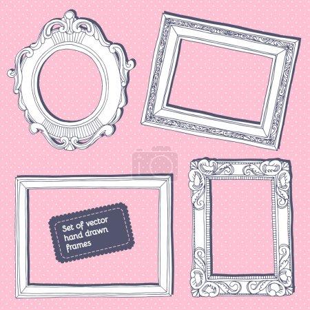 Set of vector hand drawn vintage frames