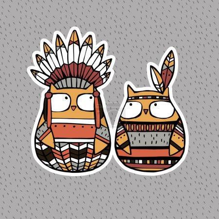 Illustration for Funny animals: American Indian Owls - Royalty Free Image