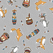 Funny indian animals pattern