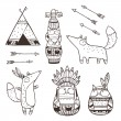 Set of vector hand drawn indian elements (funny an...