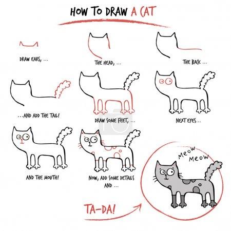 Illustration pour Tutoriel de dessin. Comment dessiner un chat. Pas à pas . - image libre de droit
