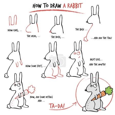 Illustration pour Tutoriel de dessin. Comment dessiner un lapin. Pas à pas . - image libre de droit