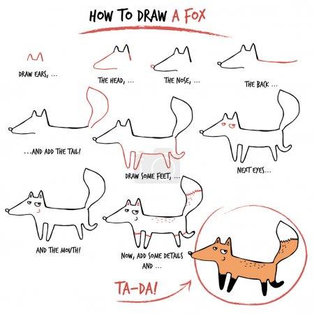 Illustration pour Tutoriel de dessin. Comment dessiner un renard. Pas à pas . - image libre de droit