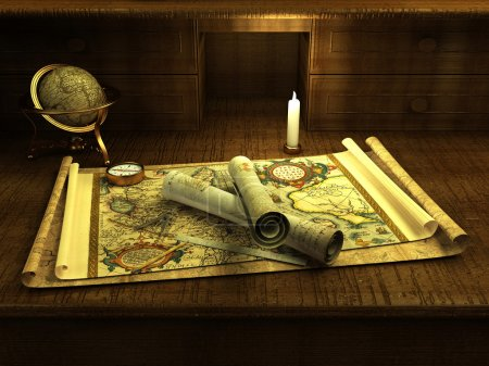 Vintage globe and compass on antique map ( 3d rendering )