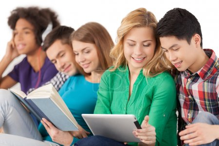 Multi-ethnic students spending time together