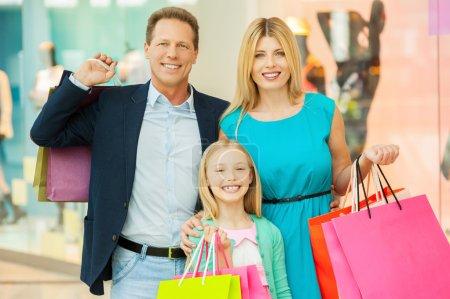 Happy family shopping.