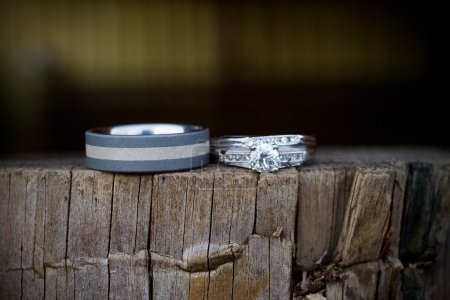 Wedding Rings on Wooden Wall