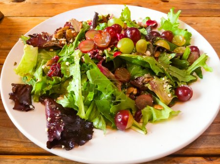 Photo for Healthy salad with grapes and nuts at a nice restaurant in Oregon. - Royalty Free Image