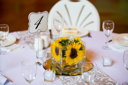 Flowers in glass on the tables for the centerpiece...