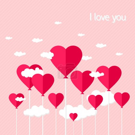Illustration for Balloons with heart shaped clouds on pink striped background. vector illustration - Royalty Free Image