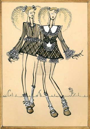 Photo for Two young naughty girl-friend in the skirts of tartan. Hand painted fashion illustration draw over pencil on paper - Royalty Free Image