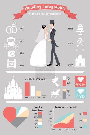 Photo pour Mariage infographies set.Cute marié dessin animé et mariée avec des icônes de mariage dans un style rétro  . - image libre de droit