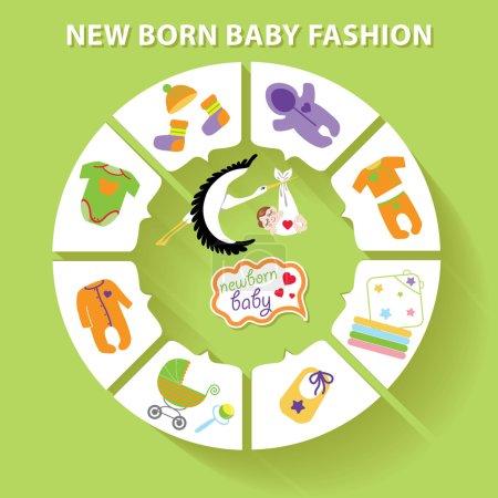 Photo pour Bébé mignon infographie de mode avec des icônes échantillon nouveau-né dans le style plat . - image libre de droit