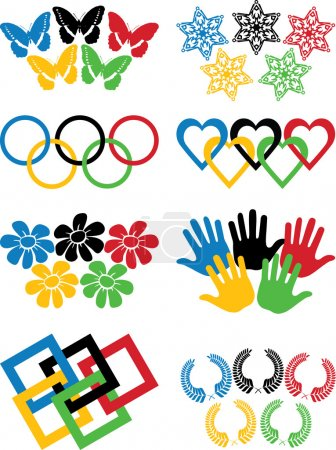 Vector.Set of variations on the theme of the Olympic rings.White background.