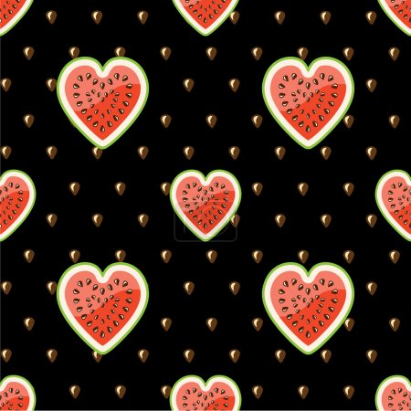Halves of watermelon and seeds on a black background.Vector seamless pattern.