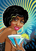 Portrait funny mulatto female at a party.Illustration.