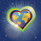 Planet earth in the heartsform in tOlympic rings Vector Illus