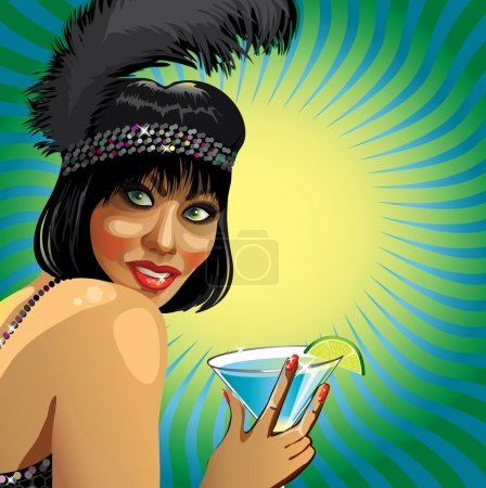 Illustration for Portrait of smiling girl with short hair and feather on his head. She holds cocktail. Square composition with woman. Poster, template,illustration - Royalty Free Image