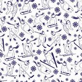White bear plays winter sportSeamless vector pattern