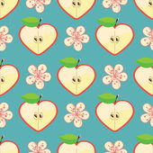 Apple halves heart shaped and Flowers on the blue background Сartoon Оrnament Retro style shebi chic Vector seamless pattern background packingWallpaperfabricchildren's figure Pastel colors
