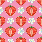 Strawberry halves heart shaped and flowers on the pink backgroundCartoon ornamentVector seamless pattern background packingWallpaperfabricchildren's figure
