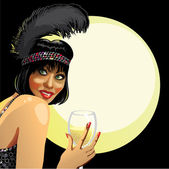 Smiling female with short hair holding a glass of champagne Advertising Coctail party in night club Retro illustrationpostertemplate