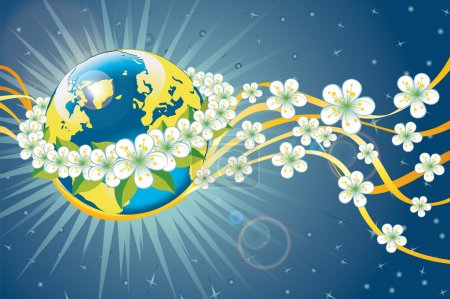 Planet earth in wreath of spring flowers and ribbons