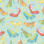 Colorful fashion women's shoes and spring flowersSeamless pattern